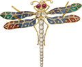 Estate Jewelry:Brooches - Pins, Diamond, Ruby, Plique-à-Jour Enamel, Silver-Topped Gold Brooch. ...