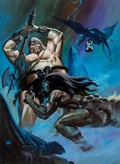 Original Comic Art:Paintings, Ken Barr Kyrik Fights the Demon World Cover Painting Original Art (Leisure Books, 1975)....