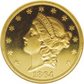 Proof Liberty Double Eagles: , 1864 $20 PR64 Cameo NGC. In 1858--only one year after the discontinuation of the large cent and half cent created the first...