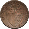 Colonials: , 1795 1/2P Washington Liberty & Security Halfpenny, ASYLUM EdgeMS61 Brown NGC. Baker-31A. The ASYLUM edge variant of this h...