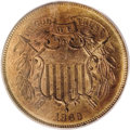 Two Cent Pieces: , 1869 2C MS65 Red PCGS. A dusky rose-gold and olive Gem with a pinpoint-sharp strike and vibrant cartwheel shimmer. Contact ...