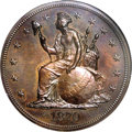 Patterns: , 1870 $1 Indian Princess Silver Dollar, Judd-1016, Pollock-1150, LowR.7, PR66 Brown NGC. A seated figure of Liberty faces l...
