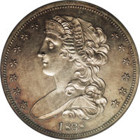 1838 P50C Half Dollar, Judd-73 Restrike, Pollock-77, R.5, PR61 PCGS. On the obverse a bust of Liberty faces left with se...