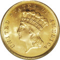 Three Dollar Gold Pieces: , 1879 $3 MS65 PCGS. Although the skimpy mintage was only 3,000pieces, quite a few Gems are known of this generally well-pro...