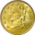 Classic Quarter Eagles: , 1837 $2 1/2 MS64 PCGS. McCloskey-B, R.3. The most available die pairing for the 1837, recognizable by a wide left border an...