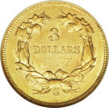 Three Dollar Gold Pieces: , 1857-S $3 AU58 NGC. Ex: Princess Collection. Well struck and stillsomewhat lustrous, with distinct semi-prooflikeness and ...