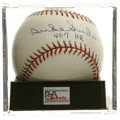 "Autographs:Baseballs, Duke Snider ""407 HR"" Single Signed Baseball, PSA Gem Mint 10. TheDuke of Flatbush has signed the sweet spot of this OML ba..."