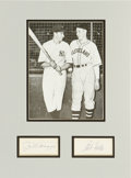 Autographs:Index Cards, Joe DiMaggio and Bob Feller Signed Index Card Display. Each of these national heroes spent time serving the US Military dur...