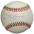Autographs:Baseballs, Sammy Sosa Single Signed Baseball. Official Major League baseballhas been tagged across the sweet spot with a scarcely imp...