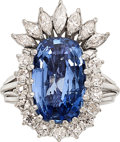 Estate Jewelry:Rings, Ceylon Sapphire, Diamond, Palladium Ring. ...