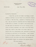Autographs:U.S. Presidents, Woodrow Wilson: Typed Letter Signed to President Taft....