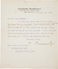 Autographs:U.S. Presidents, Theodore Roosevelt: Typed Letter Signed....