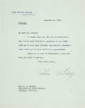 Autographs:U.S. Presidents, Calvin Coolidge: Typed Letter Signed as President....