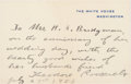 Autographs:U.S. Presidents, Theodore Roosevelt: Autograph Note Signed as President....