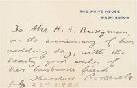Theodore Roosevelt: Autograph Note Signed as President
