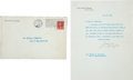 Autographs:U.S. Presidents, William Howard Taft: Typed Letter Signed as President....