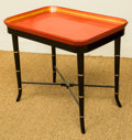 Furniture , A Chinese-Style Red Lacquered Tea Tray and Ebonized Wood Stand, 20th century. 20-1/2 h x 23-1/2 w x 17 d inches (52.1 x 59.7...