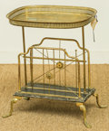Furniture , A Brass Gallery Side Table with Newspaper Rack, 20th century. 21-1/2 h x 18 w x 14 d inches (54.6 x 45.7 x 35.6 cm). ...