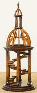 Furniture , A Gothic Revival-Style Wooden Model of a Spiral Staircase, 20th century. 35 inches high x 14 inches wide (88.9 x 35.6 cm). ...