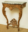 Furniture : French, A Louis XV-Style Pine Console Table with Marble Top. 32 h x 24 w x13 d inches (81.3 x 61.0 x 33.0 cm). ...