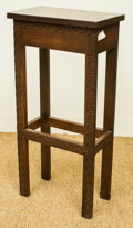 Furniture , A Narrow Chippendale-Style Stained Pine Side Table, late 20th century. 28-3/4 h x 14 w x 8 d inches (73.0 x 35.6 x 20.3 cm)...