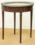 Furniture : Continental, A Single-Drawer Walnut Center Table with Fretwork Gallery, 20thcentury. 29 h x 25-1/4 di inches (73.7 x 64.1 cm). ...