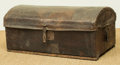 Furniture , A Continental Camphorwood and Leather Trunk. 15-3/4 h x 35 w x 20 d inches (40.0 x 88.9 x 50.8 cm). ...