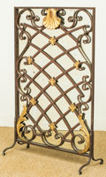 Decorative Arts, Continental, A Painted Iron Latticework Mirrored Firescreen, 20th century.36-3/4 h x 23-1/2 w inches (93.3 x 59.7 cm). ...