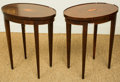 Furniture , A Pair of Baker Furniture Side Tables with Seashell Marquetry Medallions, 20th century. 20-3/8 h x 18 w x 12 d inches (51.8 ... (Total: 2 Items)
