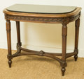 Furniture : French, A Louis XVI-Style Beechwood Console with Inset Black Marble Top,early 20th century. 25-3/8 h x 30 w x 18 d inches (64.5 x 7...