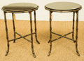 Furniture , A Pair of Black Marble and Patinated Brass Side Tables, 20th century. 17-1/4 inches high x 13 inches diameter (43.8 x 33.0 c... (Total: 2 Items)
