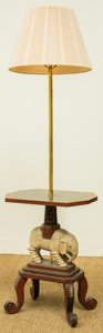 Furniture : Continental, A Painted Wood Elephant Side Table with Lamp, 20th century. 55inches high (139.7 cm) . ...