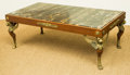 Furniture : French, An Empire-Style Gilt Bronze Mounted Oak Coffee Table with InlayMarble Top, 20th century. 17-1/4 h x 48-1/2 w x 25-1/2 d inc...