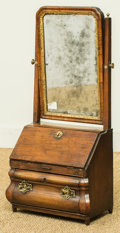 Furniture , A Diminutive Dutch Mahogany and Fruitwood Table Top Mirror Slant-Front Secretary, early 19th century. 28 h x 14 w x 7-3/4 d ...