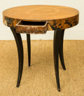 Furniture : Continental, A Biedermeier-Style Walnut and Ebonized Wood Side Table, last half19th century. 17-3/4 h x 18 w x 14 d inches (45.1 x 45.7 ...
