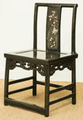 Asian:Chinese, A Rare Chinese Laque Burgauté Side Chair with Carved BoneCherry Tree Motif. 34-5/8 h x 19-1/4 w x 16-1/4 d inch...