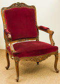 Furniture : French, A Pair of Régence-Style Red Velvet Upholstered Oak Fauteuils, late19th century. 39-1/2 h x 27 w x 22 d inches (100.3 x 68.6...(Total: 2 Items)