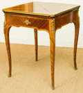 Furniture : French, A Louis XV-Style Marquetry Envelope-Folding Games Table with BronzeMounts, late 19th century. 29-1/2 h x 24 w x 24 d inches...