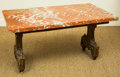 Furniture : Continental, A Venetian Painted and Gilt Trestle Table with Rouge Marble Top,early 19th century and later. 18-3/4 h x 35-1/2 w x 19-3/4 ...