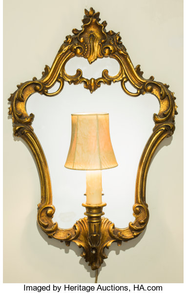 A Pair of Baroque-Style Giltwood Mirrored Wall Sconces, | Lot #63102 ...