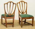 Furniture , A Pair of Sheraton-Style Upholstered Mahogany Side Chairs, 19th century. 35 h x 19 w x 17 d inches (88.9 x 48.3 x 43.2 cm). ... (Total: 2 Items)