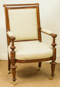Furniture , A Louis Philippe Upholstered Mahogany Fauteuil, mid-19th century. 40 h x 25 w x 21 d inches (101.6 x 63.5 x 53.3 cm). ...