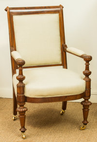 A Louis Philippe Upholstered Mahogany Fauteuil, mid-19th century 40 h x 25 w x 21 d inches (101.6 x 63.5 x 53.3 cm
