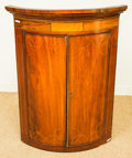 Furniture , A George III Inlaid Mahogany Hanging Corner Cabinet, early 19th century. 43-1/2 h x 32-3/4 w x 22-3/4 d inches (110.5 x 83.2...