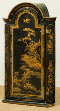Furniture , A George III Black and Gilt Chinoiserie Painted Hanging Corner Cabinet, early 19th century. 43 h x 25 w x 13 d inches (109....