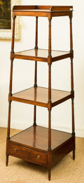 Furniture , An Edwardian Mahogany Four-Tired Étagère with Drawer, late 19th century. 58-1/2 h x 19-1/4 w x 19-1/4 d inches (148.6 x 48.9...