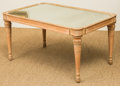 Furniture , A Neoclassical-Style Pine Coffee Table with Mirrored Top, 20th century. 18-1/2 h x 35-1/2 w x 22-3/4 d inches (47.0 x 90.2 x...