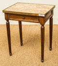 Furniture : Continental, A Diminutive Mahogany and Brass Side Table with Marble Top, late19th/early 20th century. 16-1/2 h x 14-1/8 w x 10-3/8 d inc...
