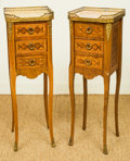 Furniture : French, A Pair of Louis XV-Style Parquetry Three-Drawer Petit Commodes withMarble Tops, 20th century. 31 h x 10 w x 9-7/8 d inches ... (Total:2 Items)