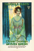 """Movie Posters:Comedy, An Even Break (Triangle, 1917). One Sheet (27.5"""" X 41"""").. ..."""